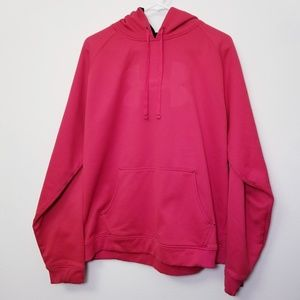 Under Armour Large Solid Red Hoodie Sweatshirt